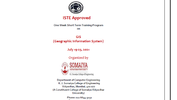ISTE Approved One Week Short Term Training Program  on  GIS  (Geographic Information System)